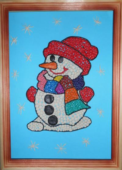 2 пластилиновая мозаика «Снеговик» дети 5 лет
